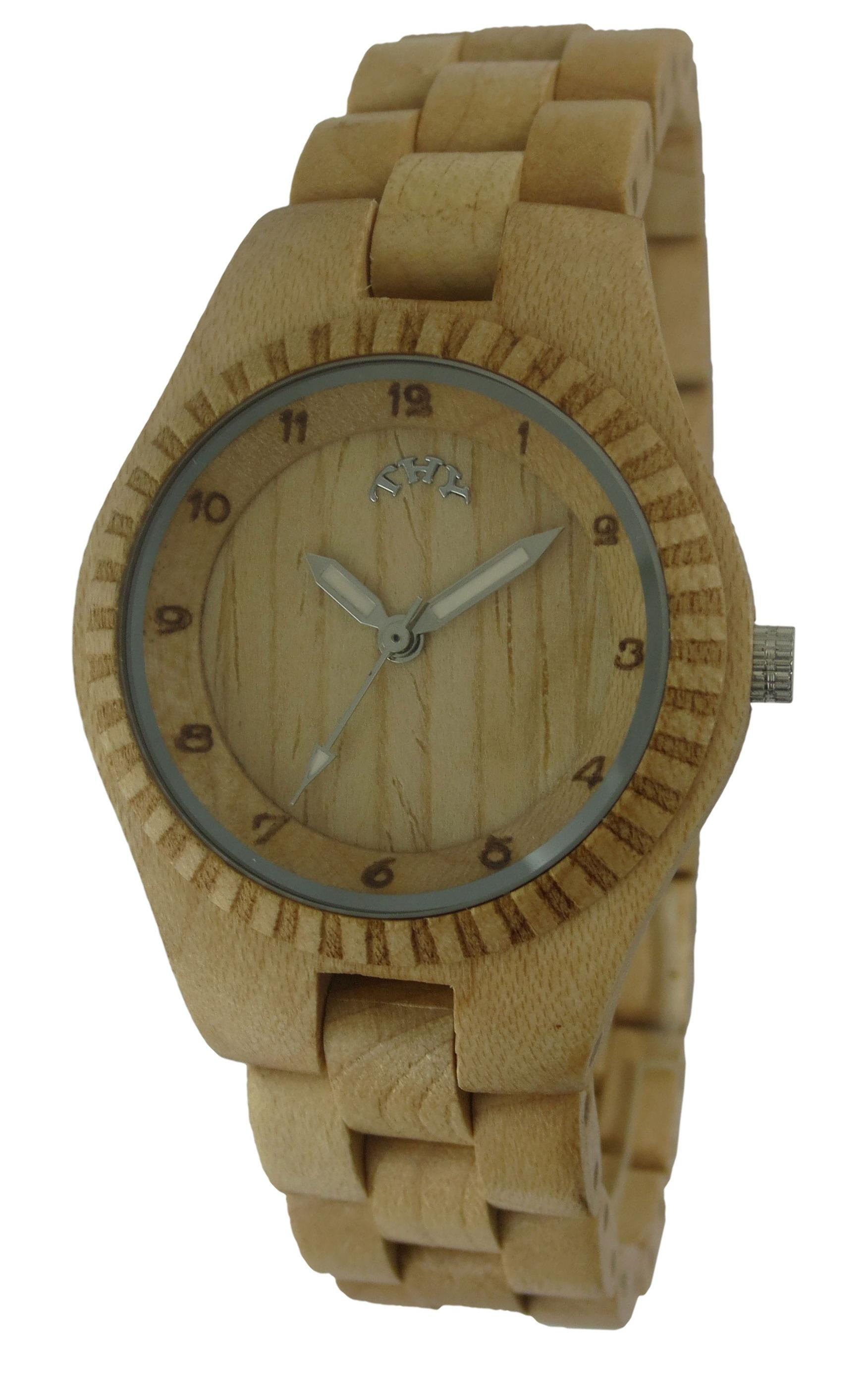 Replique Jaune Jaune cadran rond Montres en bois de la femme avec 30 mm Taille W00010