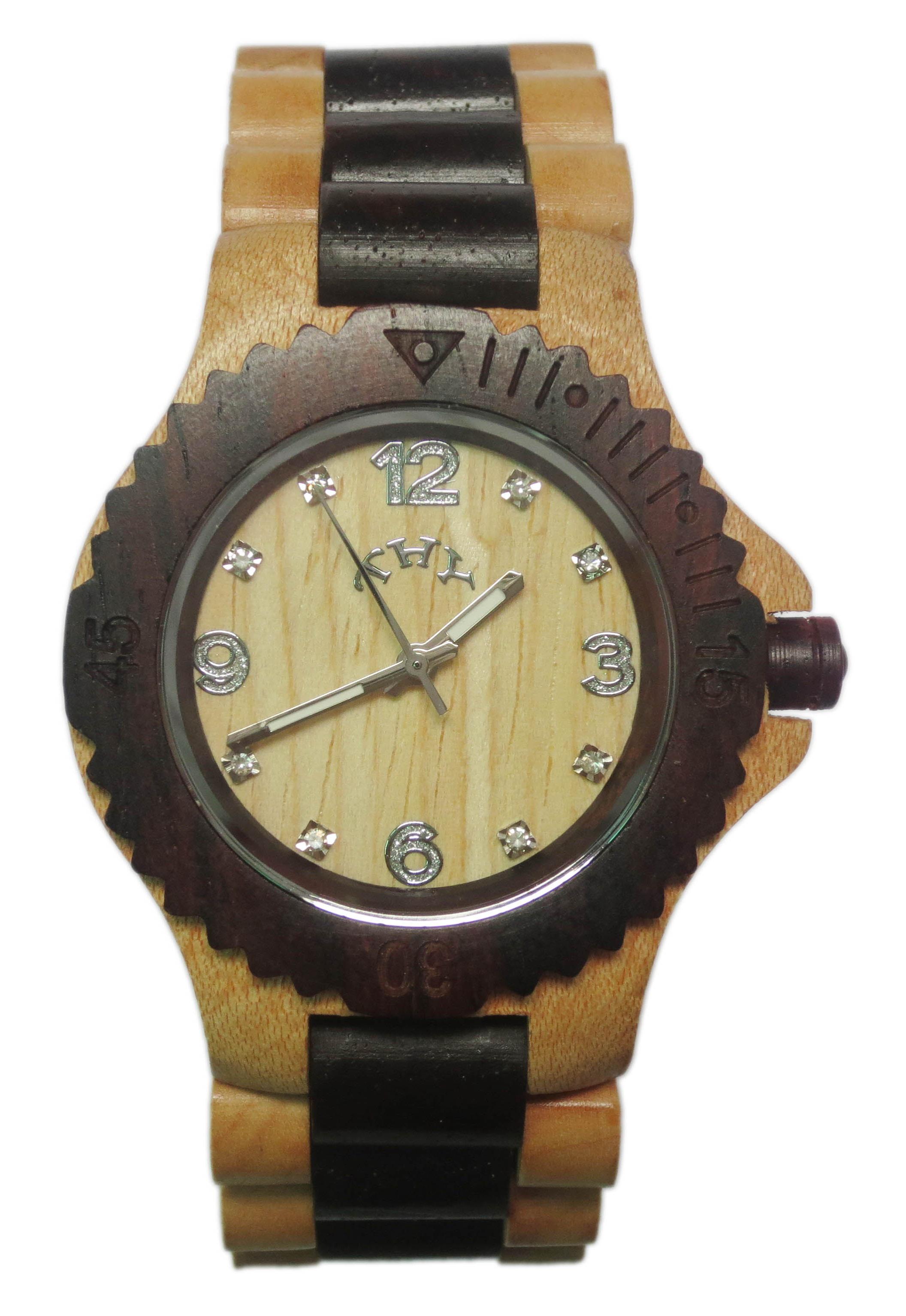 Replique Jaune et Noir 2-tone rond blanc Dial Montres bois des hommes avec 40 mm Taille W00017