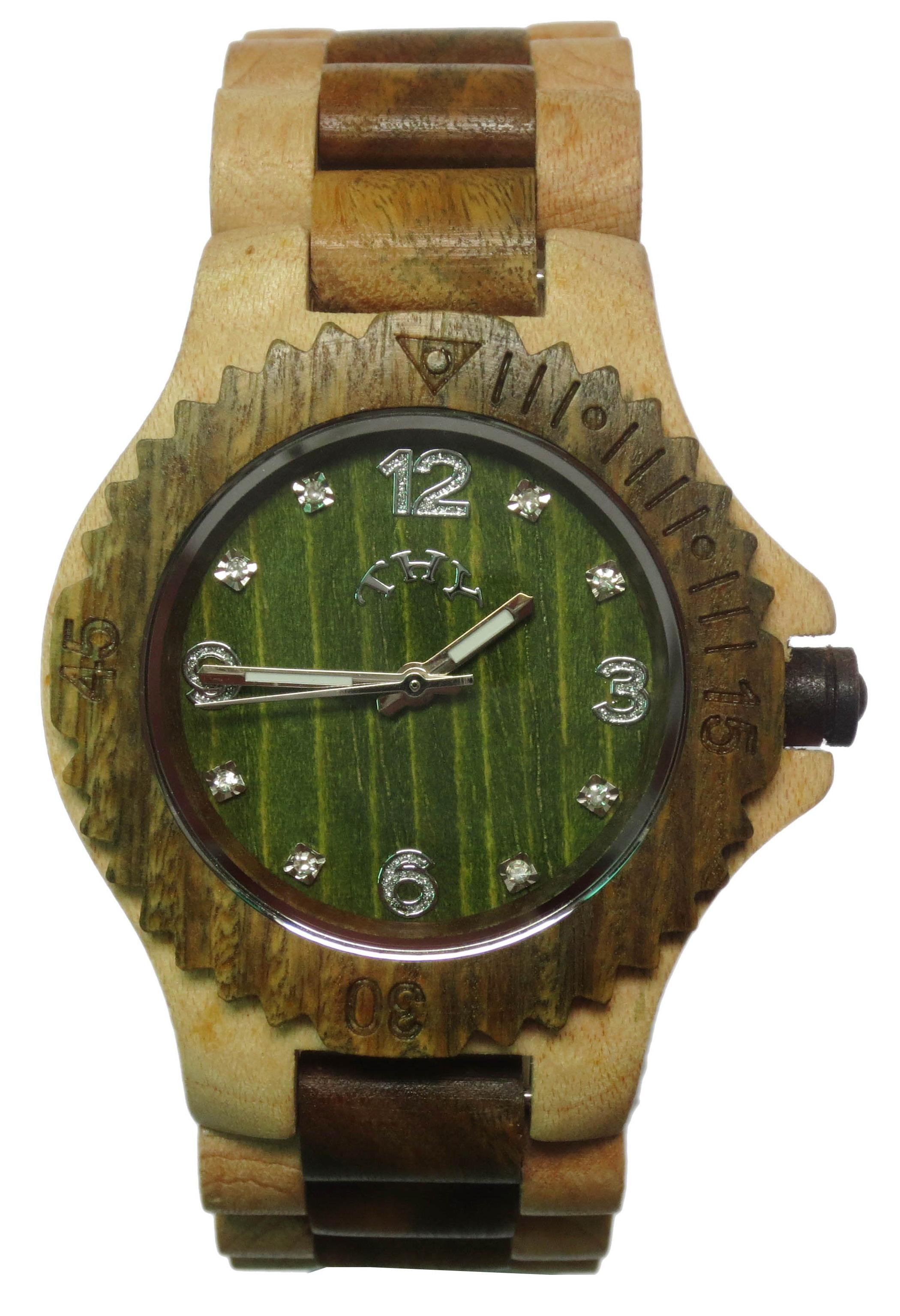 Replique Jaune et brun 2 tons cadran rond vert montres en bois des hommes avec 40 MM taille W00018