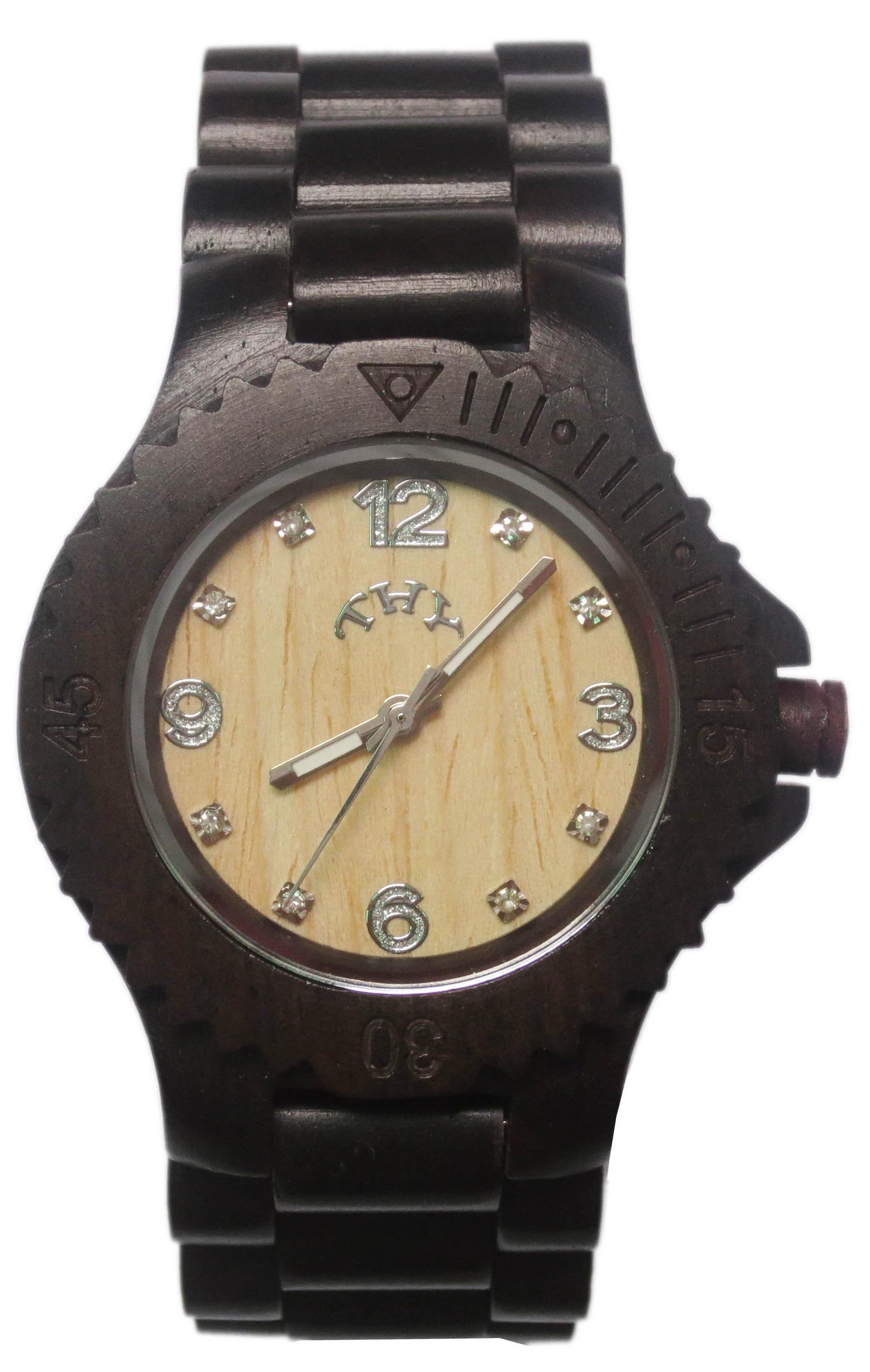 Replique Noir Blanc cadran rond Montres Hommes de bois avec 40 mm Taille W00019