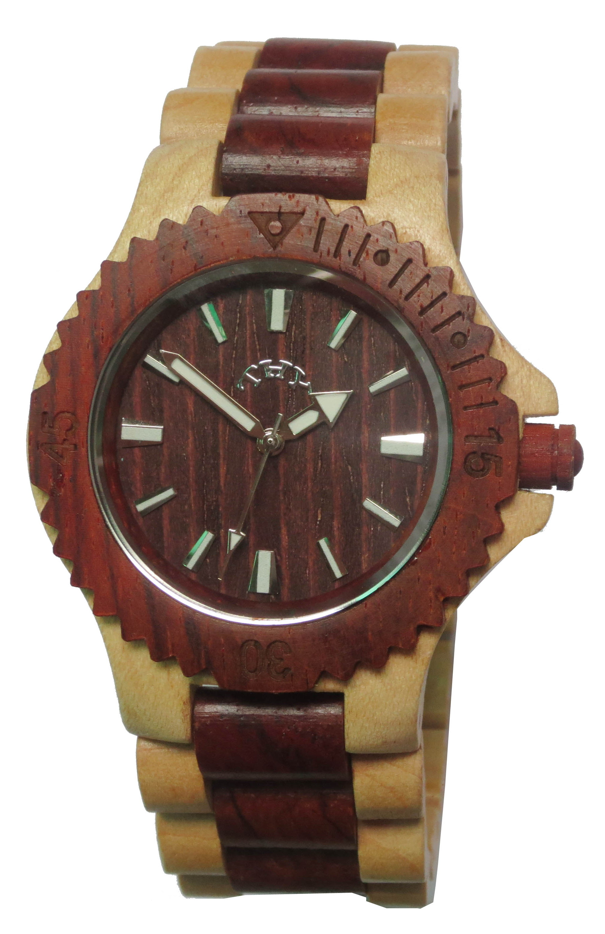 Men's Red and Yellow 2-tone Round Red Dial Wooden Watches with 40 Mm Size W00021