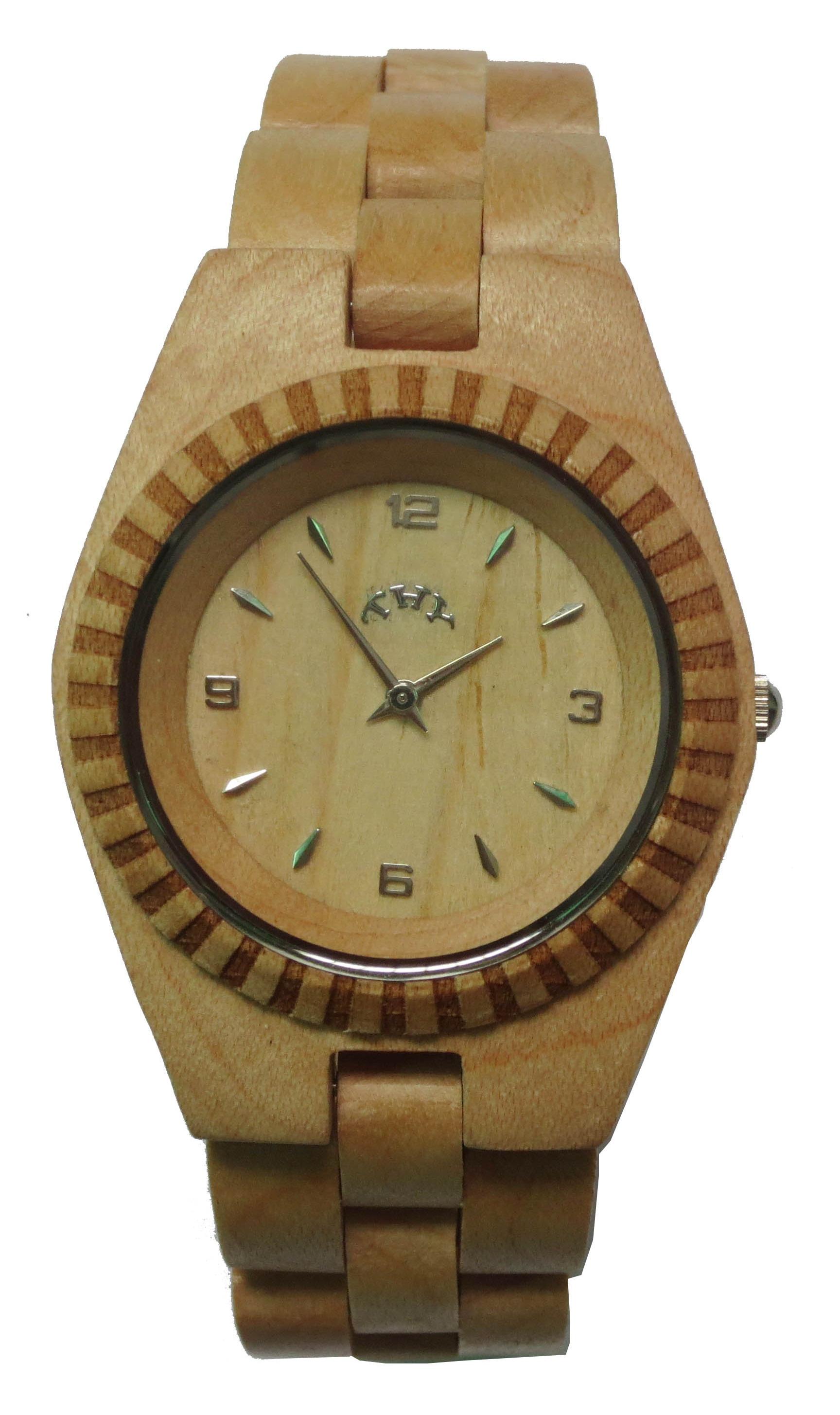 Replique Jaune Blanc ronde des femmes Dial Montres en bois avec 33 mm Taille W00022