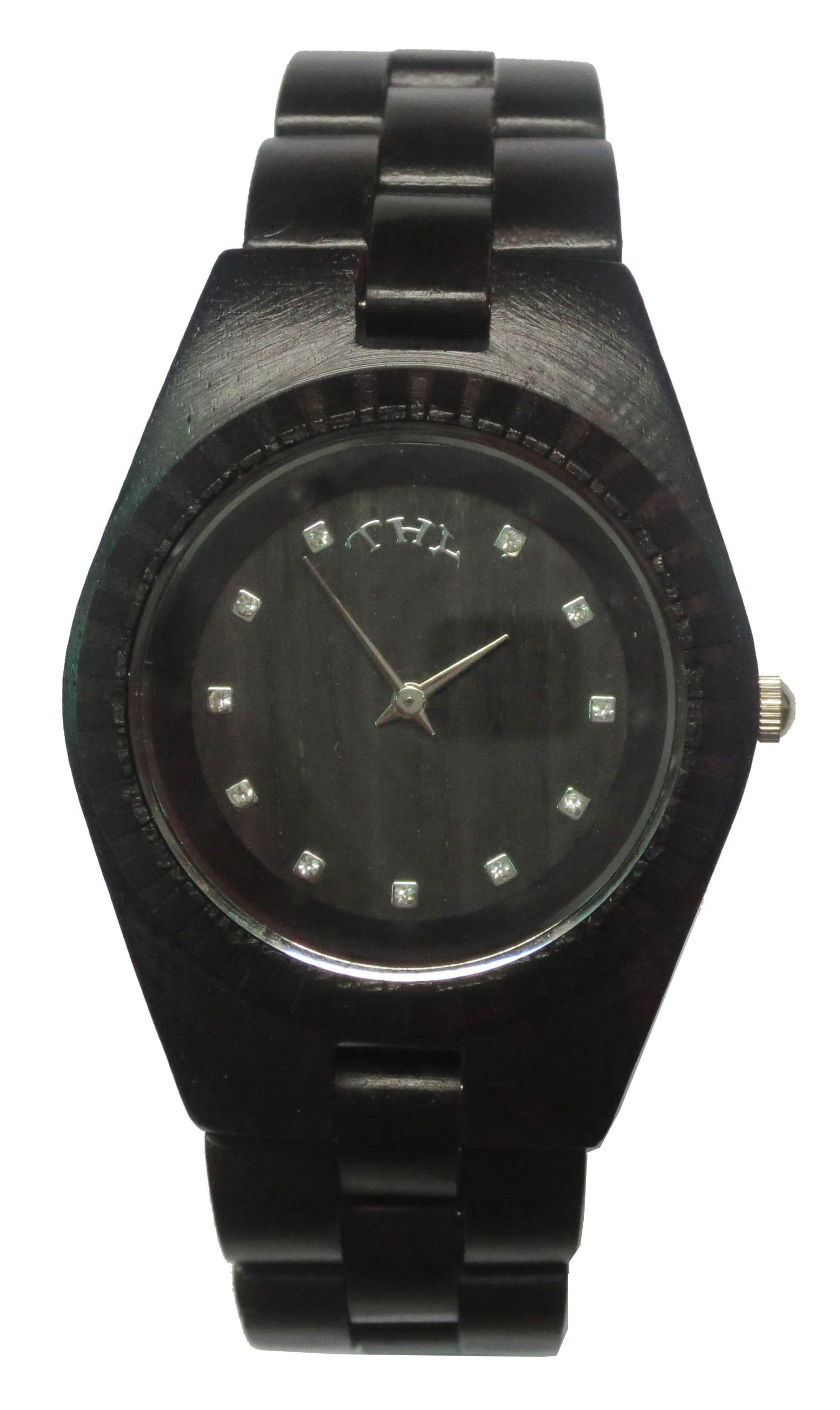 Replique Noir rond noir des femmes Dial Montres en bois avec 33 mm Taille W00023